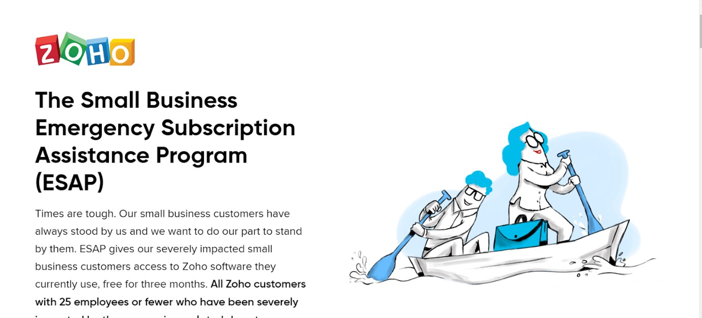 Zoho Small Business Suscription Assistance Program